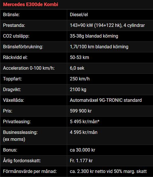 Kalmar Bilcentrum BusinessLeasing Mercedes-Benz E300de Kombi
