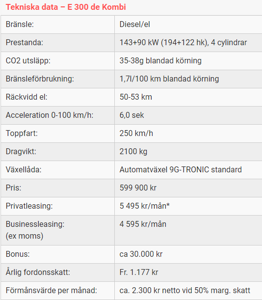 Kalmar Bilcentrum E300 de Kombi tekniska data