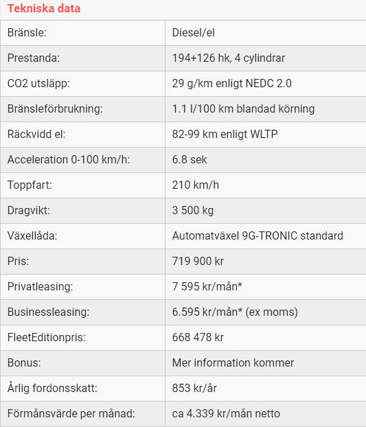 Kalmar Bilcentrum GLE 350 de SUV tekniska data