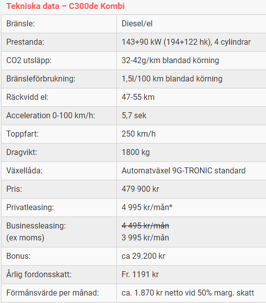 Kalmar Bilcentrum Mercedes-Benz C300de SE-edition tekniska data