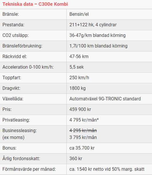 Kalmar Bilcentrum Mercedes-Benz C300e SE-edition tekniska data